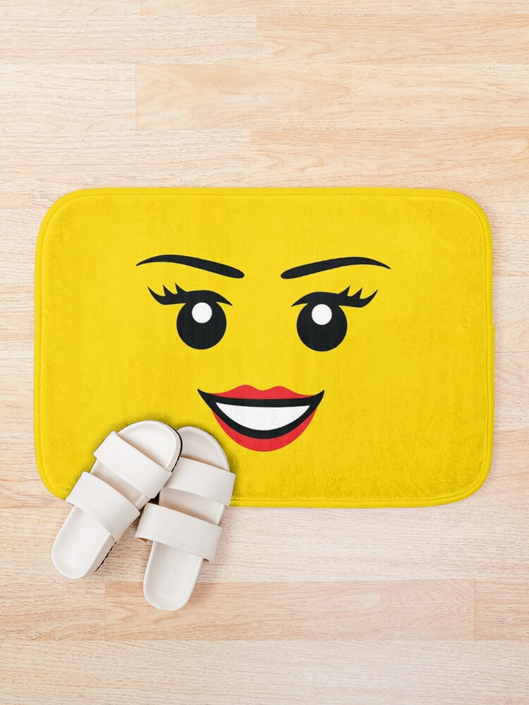 Alternate view of Cute Female Minifigure Face Funny AFOL Bath Mat