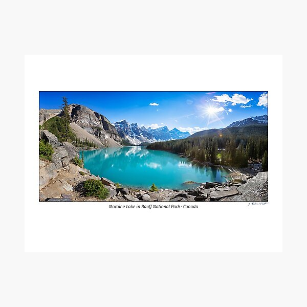 Panoramic image of Moraine Lake in Banff National Park, Alberta, Canada Photographic Print