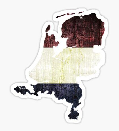 Vintage Netherlands Flag and Map Sticker