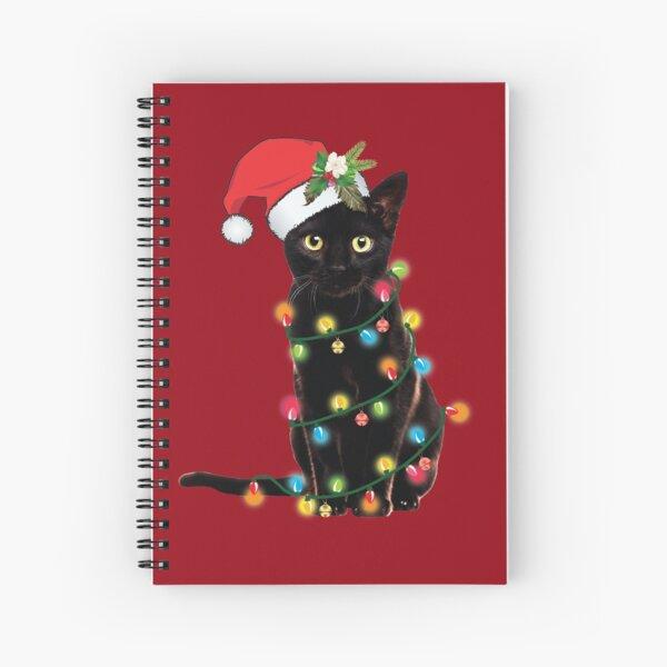 Black Santa Cat Tangled Up In Lights Christmas Santa Illustration Spiral Notebook
