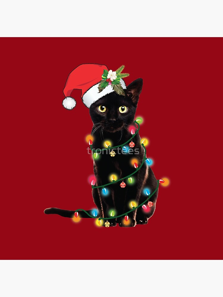 Black Santa Cat Tangled Up In Lights Christmas Santa Illustration by tronictees