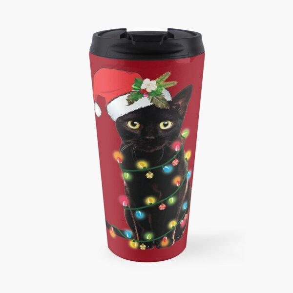 Black Santa Cat Tangled Up In Lights Christmas Santa Illustration Travel Mug