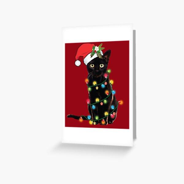 Black Santa Cat Tangled Up In Lights Christmas Santa Illustration Greeting Card