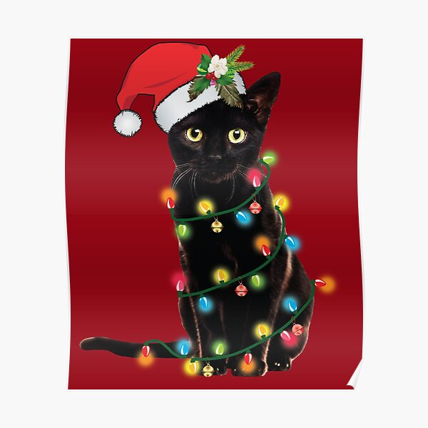 Black Santa Cat Tangled Up In Lights Christmas Santa Illustration Poster