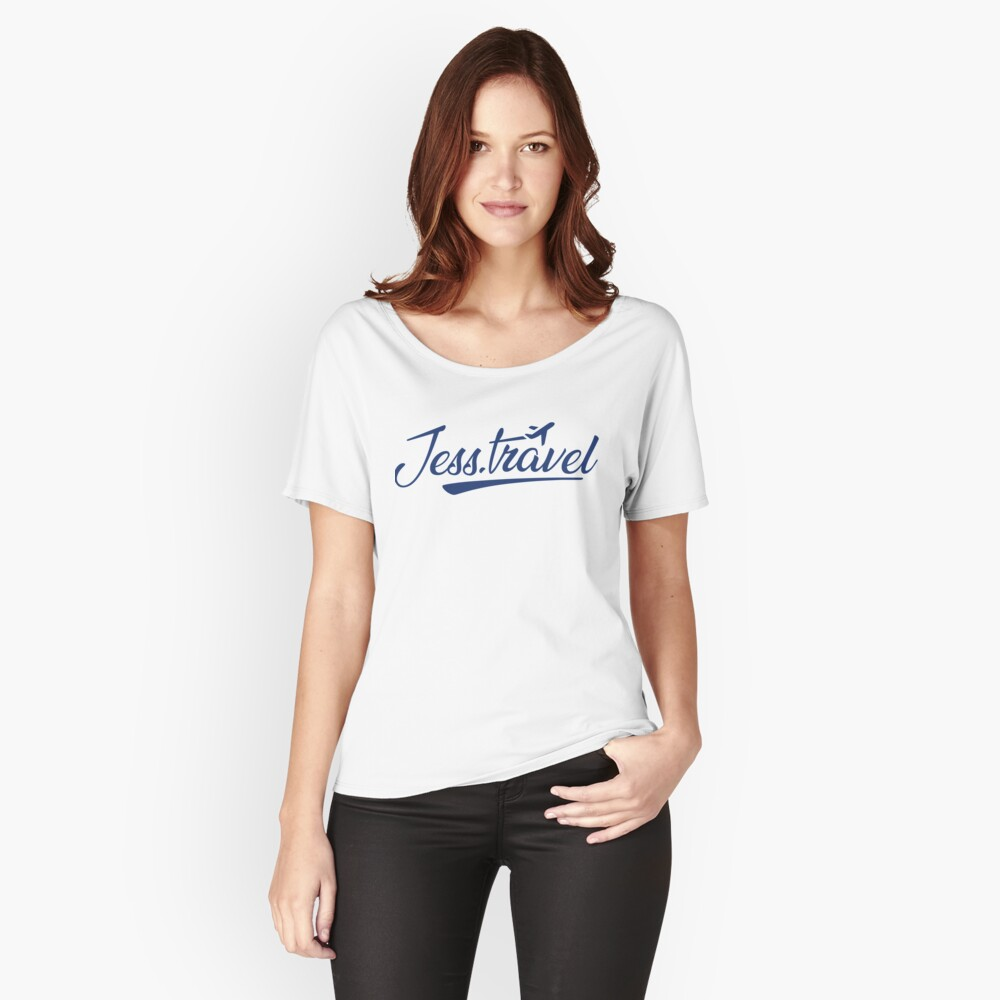 Jess.Travel Logo Reverse Blue Relaxed Fit T-Shirt