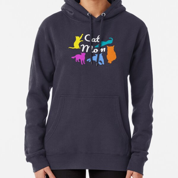 Cat mom with five cats Pullover Hoodie