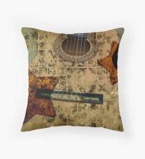 Vintage Guitar Stars Throw Pillow