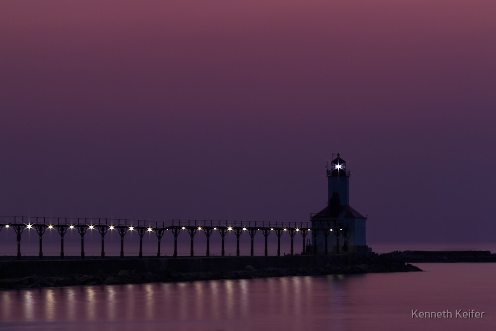 Michigan City, Indiana's East Pierhead Light at Twilight by Kenneth Keifer