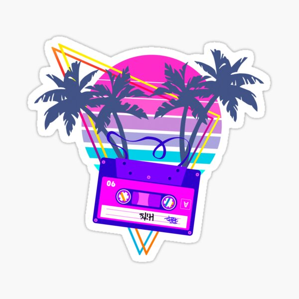90s Vaporwave Sunset Cassette Tape in Outrun Synthwave style design Sticker