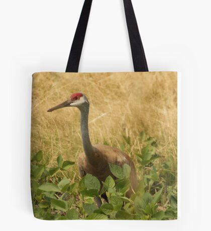 Sandhill Crane Skirted in Green Leaf Tote Bag