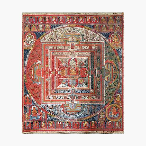 Tibetan Buddhist Manjushri Deity Mandala Thangka Reproduction Photographic Print