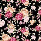 Colorful Flowers Illustration, Black Background by artonwear
