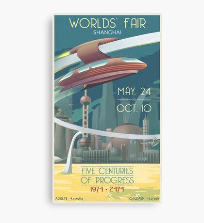Futuristic Earth Travel Poster Canvas Print