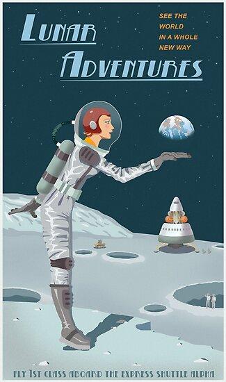 """""""Moon Travel Poster"""" Poster By Stevethomasart"""