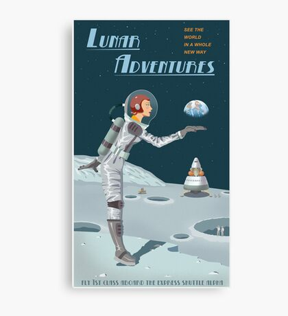 Moon Travel Poster Canvas Print