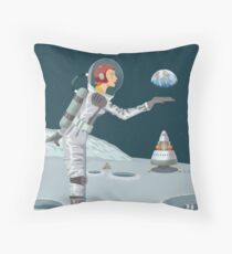 Moon Travel Poster Throw Pillow