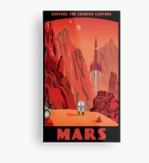 Affiche de voyage de Mars Impression métallique
