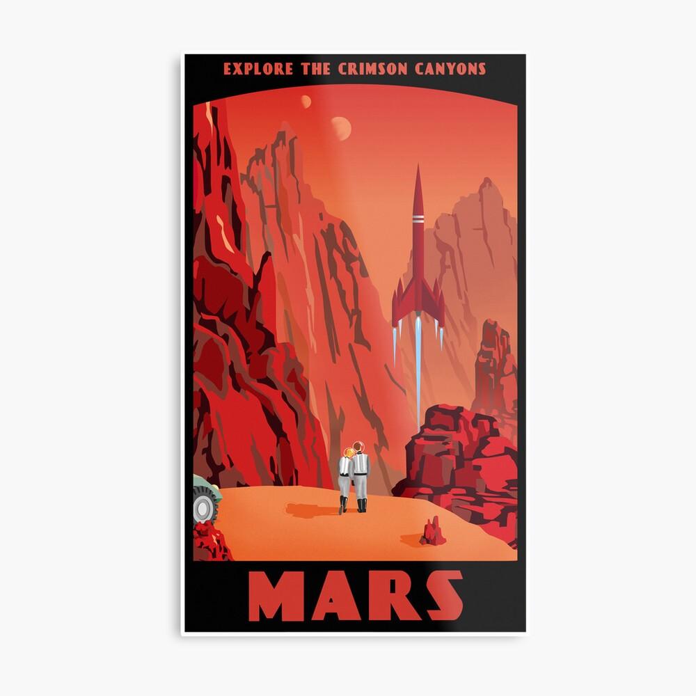 Mars Travel Poster Metal Print