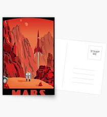 Mars Travel Poster Postcards