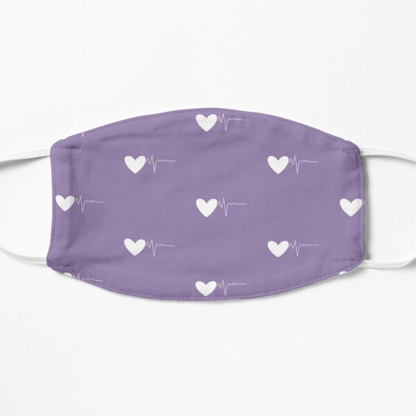 Lavender Purple color mask, Pastel heartbeat color face mask, Lavender Purple pastel Flat Mask