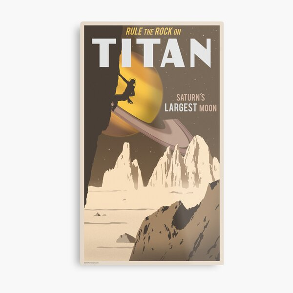 Titan Travel Poster Metal Print
