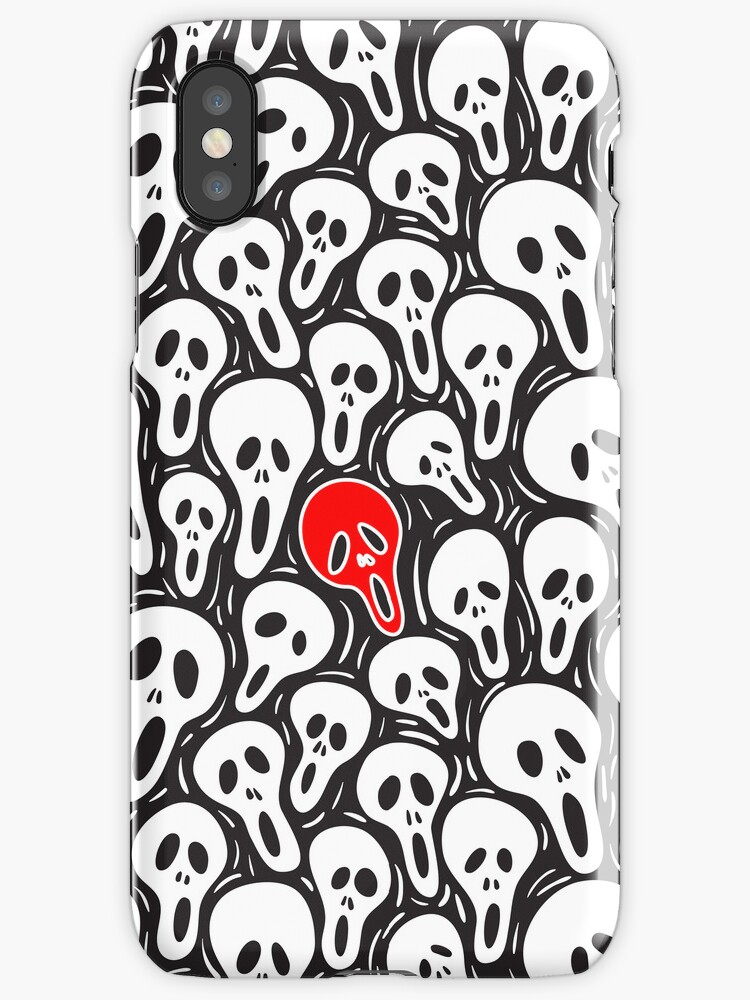 Black And White Sculls Pattern-Red Accent Color by artonwear
