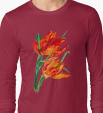 Bright Red Flamboyant Parrot Tulips T-Shirt