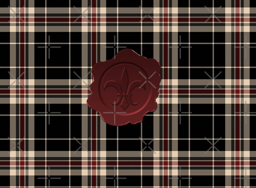 MOBY Inspired Plaid w Red Fleur De Lis Wax Seal by Loverdove