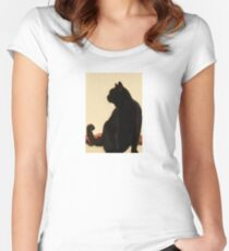 Side View Silhouette of A Black Cat Sitting On A Roof Women's Fitted Scoop T-Shirt
