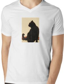 Side View Silhouette of A Black Cat Sitting On A Roof T-Shirt