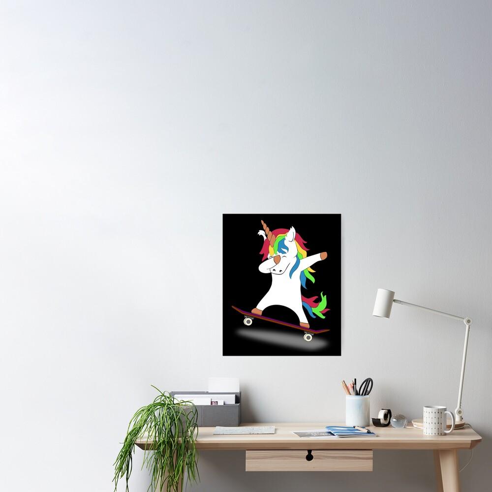 Dabbing Unicorn Skateboard Tshirt Skating Tee Poster
