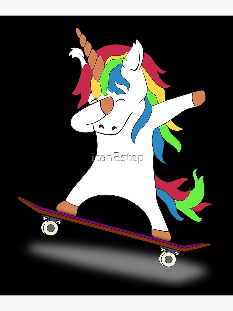 Dabbing Unicorn Skateboard Tshirt Skating Tee by ican2step