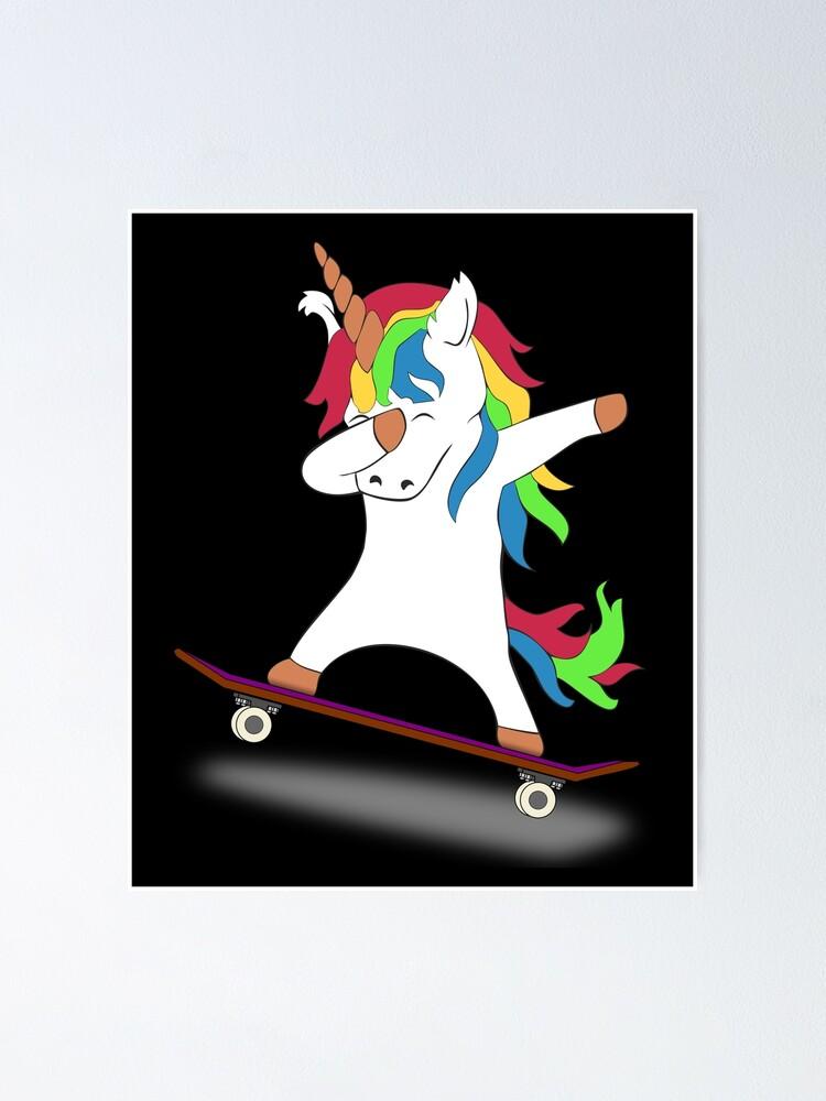 Alternate view of Dabbing Unicorn Skateboard Tshirt Skating Tee Poster