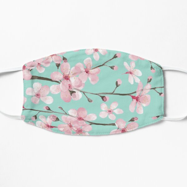 cherry blossom on mint, pink cherry blossom watercolor Flat Mask