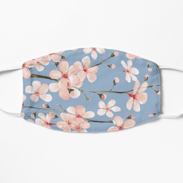 Cherry Blossom, blush pink watercolor on slate blue Mask