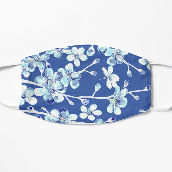 blue and white cherry blossom, Chinoiserie, Hamptons Style interiors. Flat Mask