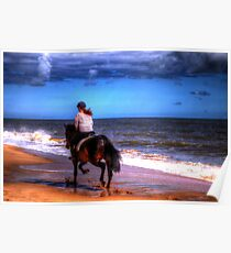 Horse and rider on beach Poster
