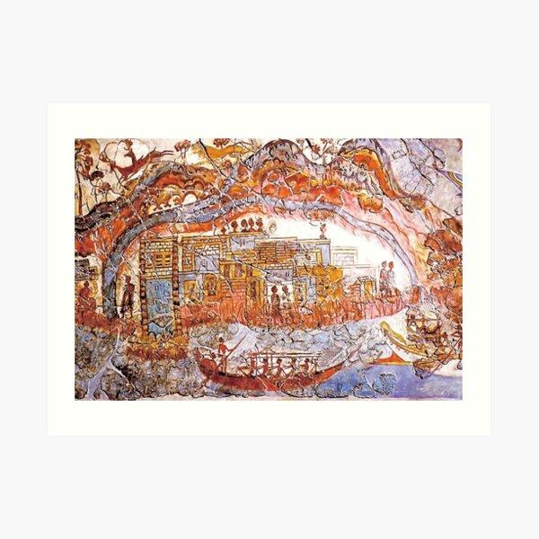 Minoan Admirals Flotilla Fresco Thera Scene Art Print