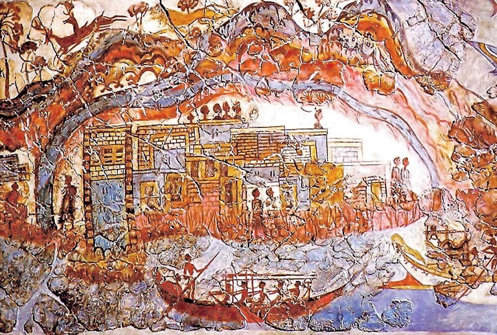 Minoan Admirals Flotilla Fresco Thera Scene by W. Sheppard Baird