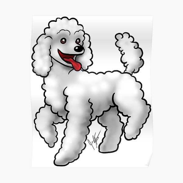 Poodle - White Poster