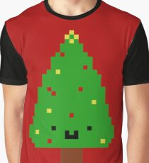 Cute Christmas Pixel Tree Graphic T-Shirt