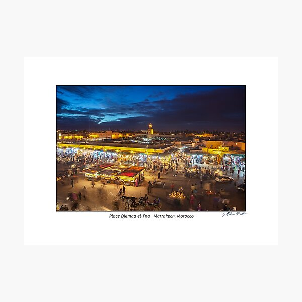 Place Djemaa el-Fna in Marrakech, Morocco, at twilight Photographic Print