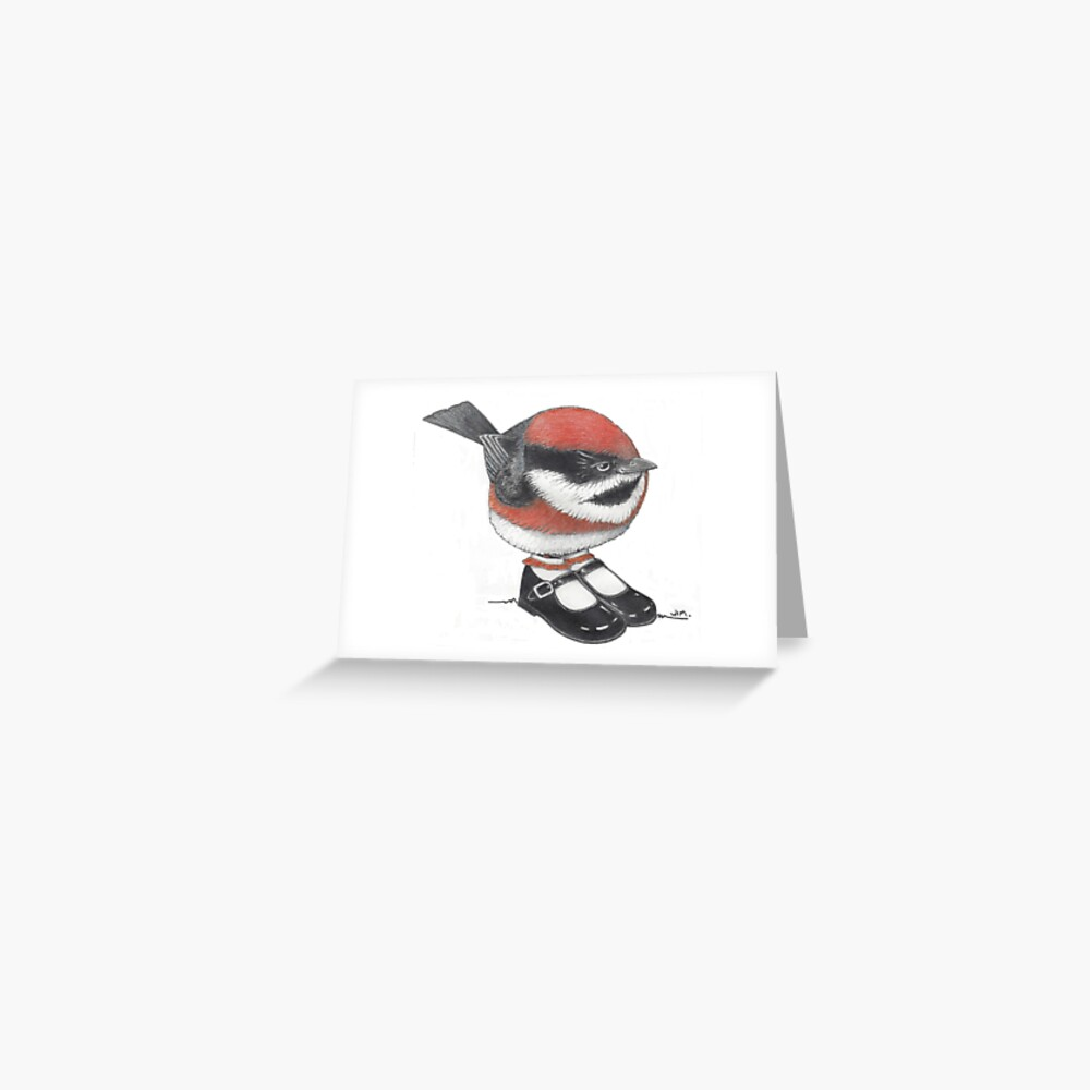 bushtit in Mary Janes Greeting Card