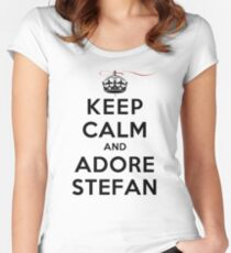 Keep Calm and Adore Stefan From Vampire Diaries LS Women's Fitted Scoop T-Shirt