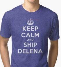 Keep Calm and SHIP Delena (Vampire Diaries) DS Tri-blend T-Shirt