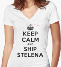 Keep Calm and SHIP Stelena (Vampire Diaries) LS Women's Fitted V-Neck T-Shirt