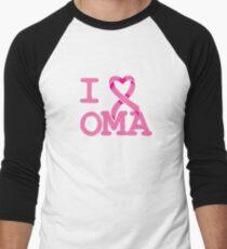 I Heart OMA - Breast Cancer Awareness Men's Baseball ¾ T-Shirt