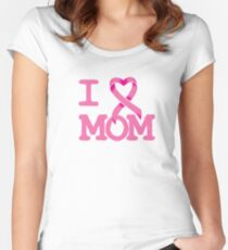 I Heart MOM - Breast Cancer Awareness Women's Fitted Scoop T-Shirt