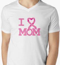 I Heart MOM - Breast Cancer Awareness Men's V-Neck T-Shirt