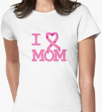 I Heart MOM - Breast Cancer Awareness Women's Fitted T-Shirt